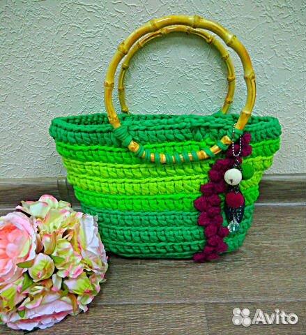 вязаная сумочка зелёное лето ручная работа Festimaru