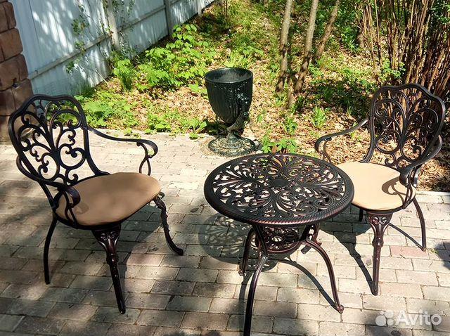 литая мебель набор стол и два кресла 1 купить в москве на