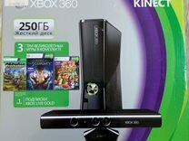 Xbox 360 250Gb, Kinect, 2 Gamepads, пульт ду, игры