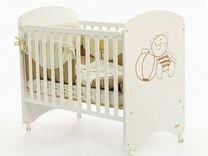 Детская кроватка белая micuna lapsi мишка 120х60