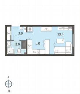 1-к квартира, 25.2 м², 13/25 эт. объявление продам