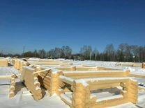 Срубы дома бани любого размера зимнего леса